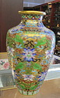 Chinese cloisonné on copper vase