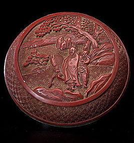 19th Century Chinese Cinnabar circular box