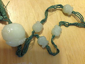 Chinese white jade nephrite beaded necklace