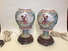 Pair of Chinese Famille Rose Porcelain lamp lantern