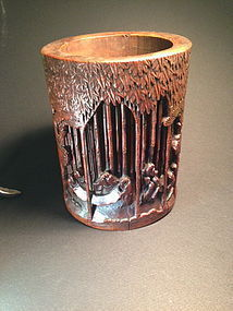 Antique Chinese carved bamboo brush holder