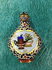 Chinese antique Cloisonne enameled snuff bottle