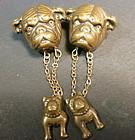 Pair of copper Bull dog earrings