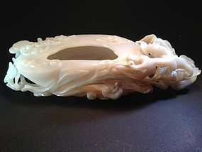 Carved Chinese white jade brush washer