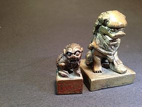 two antique Chinese Foo dog bronze seals