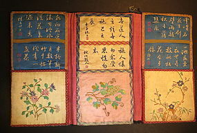 Antique Chinese embroidered three folded purse