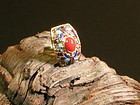 Coral   filigree enamel silver ring