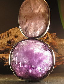 Chinese amethyst court necklace flat  bead pendant