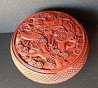 Antique Chinese cinnabar lacquer dragon box