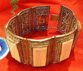 Chinese miniture carved panel  hinged silver bracelet