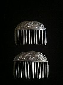 Pair of antique Chinese silver hair combs