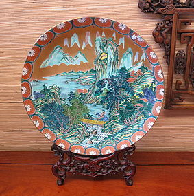 Large Japanese porcelain Imari Charger of a horse rider