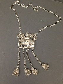 Antique Chinese silver necklace  Qiling and rider