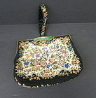Vintage hand bag with carved Chinese jadeite pin