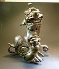 Antique Chinese  pair of bronze Fu dog censer tops