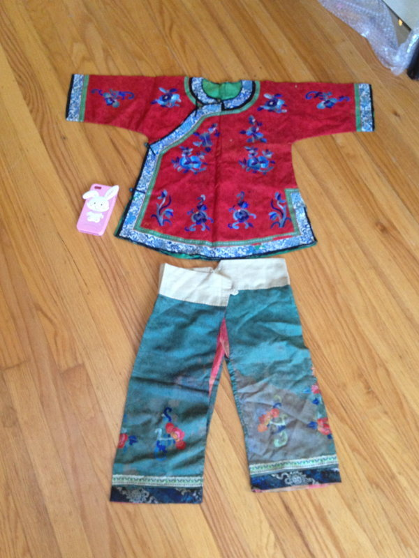 Chinese child red silk embroidered robe and pants