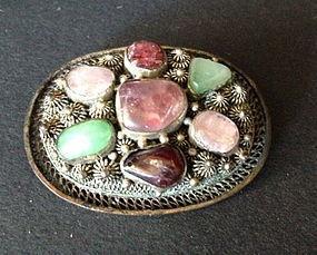 Chinese jadeite tourmaline silver brooch