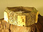 Chinese filigree silver and carved bone plaque bracelet