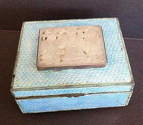 Chinese white jade nephrite plaque inserted enamel box