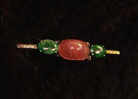 Beautiful Chinese jadeite tourmaline gold brooch