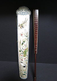 Chinese embroidered silk fan case and fan