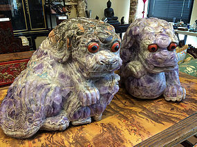 A pair of large amethyst Foo dog