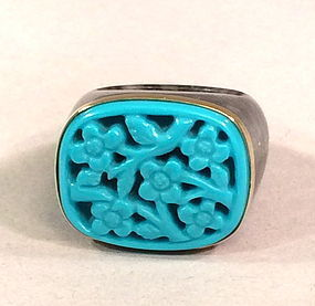Carved turquoise color  and gray jade 14K gold ring