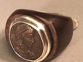 ancient Roman coin Constantine 2 silver and wood ring