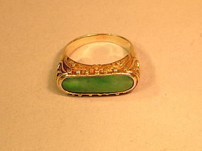 Jadeite 14K yellow gold ring