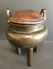 Cast Bronze Tripod Censer and cover