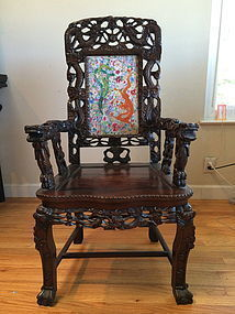 Chinese rosewood Dragon armchair porcelain plaque