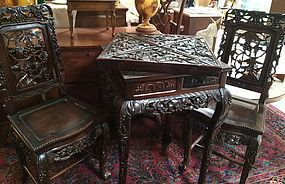 Fine Chinese Rosewood Games table and chair set