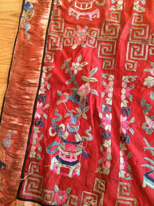 Chinese Red embroidered silk hanging of flower basket