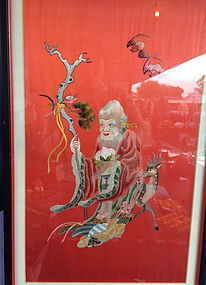 Antique Chinese embroidered god of longivity