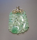 Chinese carved jadeite pendant with gold loop