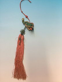 Silk embroidered three legged lucky toad tassel charm