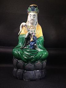 Chinese glazed porcelain Guangying statue