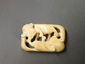 Chinese carved bone double badgers