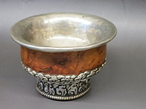 Antique Tibetan burl wood metal bowl
