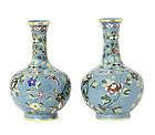 A pair of cloisonné enamel bottle vases, 19th century