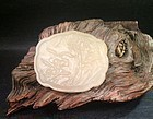Antique Chinese white jade carved plaque
