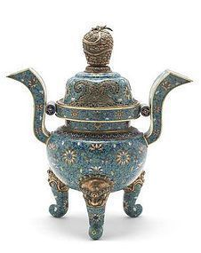 A cloisonné enamel tripod incense burner and cover
