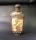 large Mongolian style snuff bottle inlay with coral and turquoise
