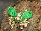 Vintage large jadeite diamond gold butterfly pin brooch