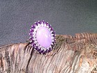 Large lavender jade white gold diamond amethyst ring size 7