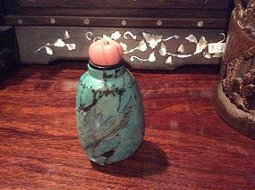 Large turquoise  with coral stopper snuff bottle