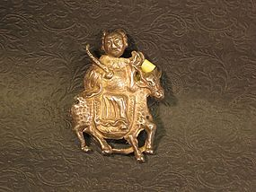 Chinese gilt silver   repousse  rider with horse