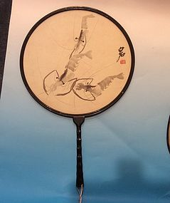 "Chinese circular fan painting sign ""Bai Shi"""