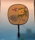 Chinese circular Fan paintins on silk Bamboo and bird motif