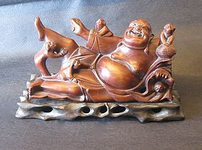 Carved Chinese Rosewood Happy Buddha with 5 playful Children